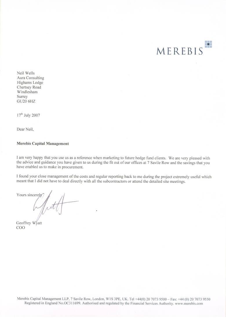 Aura Consulting professional references: Merebis
